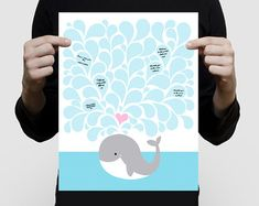 whale fingerprint guest book baby shower or by creativemonsoons