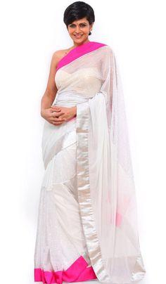 #BollywoodSarees - White Net Saree Worn By Mandira Bedi (Bollywood Replica) Costs Rs. 2,850. #Apparels BUY it here: http://www.artisangilt.com/sarees-saris/bollywood-replica-sarees/white-net-saree-worn-by-mandira-bedi-bollywood-replica.html?ref=pin