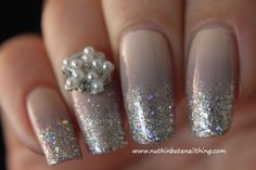 Sparkled french tip with some decoration