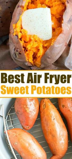 Fluffy sweet potato in the air fryer recipe is here! Sweet potatoes are the best… Fluffy sweet potato in the air fryer recipe is here! Sweet potatoes are the best side dish for the holidays or year round. Crispy outside but tender inside. Air Fryer Recipes Vegetarian, Air Fryer Recipes Vegetables, Air Fryer Recipes Breakfast, Air Fryer Oven Recipes, Air Fryer Dinner Recipes, Vegetable Recipes, Ovo Vegetarian, Veggies, Recipes For Airfryer