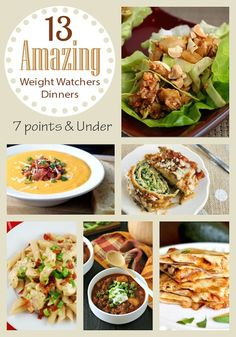 13 Amazing Weight Watchers Dinner Recipes all with 7 or fewer points! Mexican, Italian, Asian and USA comfort food all included.