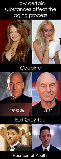 Don't do drugs. Ever. But it could also be that men seem to age better.