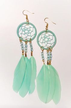 Dreamcatcher Earrings - Mint Color - Natural Feathers - Handmade - Native American - Boho Earrings
