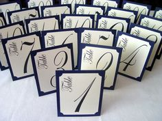 Tall Elegant Table Numbers - Textured, Tented, and Double Sided. $1.40, via Etsy.