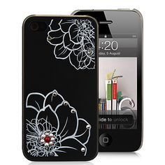 Beautiful Flower With Diamond Decorated Hard Case Cover For iPhone 4S - Translucent Black