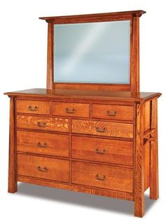 Amish Artesa Nine Drawer Dresser with Optional Mirror Lots of storage for your favorite things. Solid wood construction. Available with or without the mirror. American made in your favorite wood, stain and hardware. #dresser #bedroomstorage