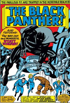 Fantastic Four splash page. The Black Panther makes his debut. Art by Jack Kirby. Black Panther Comic Books, Black Panther Marvel, Comic Book Artists, Comic Book Characters, Marvel Comic Books, Comic Books Art, Jack Kirby Art, Splash Page, Thing 1