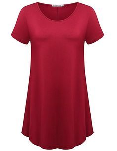 JollieLovin Women s Short Sleeve Loose Fit Flare Hem T Shirt Tunic Top  (Wine Red 1064ce667