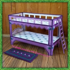 Fashion Doll's Bunk Bed & Rug (Purple) Size: x x 8 Stitched… Diy Barbie Furniture, Dollhouse Furniture, Plastic Canvas Crafts, Plastic Canvas Patterns, Hama Beads, Doll Bunk Beds, Patterned Furniture, Bed Rug, Doll House Crafts