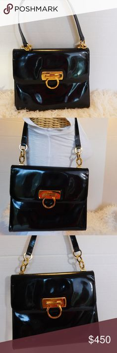 """Authentic Salvatore Ferragamo Patent Leather Bag BRAND- Salvatore Ferragamo   COLOR- Black/Gold  MATERIAL- Patent Leather  STYLE- Shoulder/Handbag  SIZE- 9"""" length, 8"""" height, 2"""" width, 9"""" strap drop  FEATURES- BEAUTIFUL CLASSIC FERRAGAMO GOLD HORSEBIT, GOLD RINGS ON HANDLE  INSIDE- 1 OPEN COMPARTMENT, 1 ZIPPER POCKET, BAG TAG WITH SERIAL E 211067  CONDITION- PRE-OWNED VINTAGE VERY GOOD, MINOR SIGNS OF WEAR, THE UNDER SIDE OF THE HANDLE HAS SOME RUBBING FROM WEAR. VERY LITE MARKS.  Bin- PB 3…"""