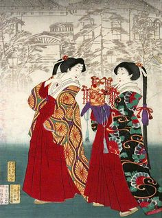 Event of the Year (left panel), Tsukioka Yoshitoshi, 1875; The Fairbanks Fine Arts Print Collection, Oregon State University. Traditional Japanese print; color woodblock print. via @ArtLookToday on Facebook.