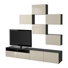 BESTÅ TV storage combination - black-brown/Selsviken high-gloss/beige, drawer runner, push-open - IKEA