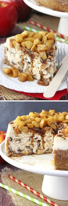Apple Cinnamon Cheesecake - A cinnamon cheesecake layered with apples and cinnamon filling! Topped with even more apples and cinnamon! Absolutely to die for! #sponsored