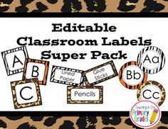 Jungle/ Safari themed editable classroom label set. Over 100 pages of labels. All shapes of labels are provided with editable text! $