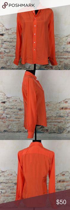 NWT Ralph Lauren Black Label 8 Orange Silk Blouse NWT Ralph Lauren Black Label Wms Sz 8 Orange 100% Silk Button Down Career Blouse Ralph Lauren Black Label Tops Button Down Shirts