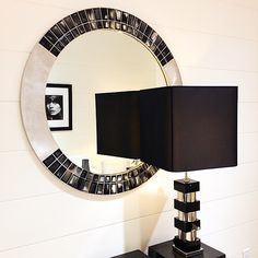 Silver and Black, Arca Horn Mirror, Domus table lamp, Terry O' Neill photography.
