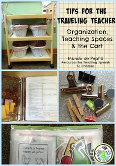 Tips for the Traveling Teacher on a cart...organization, teaching in other people's spaces, and the cart! Loads of great tips and ideas! Mundo de Pepita, Resources for Teaching Spanish to Children
