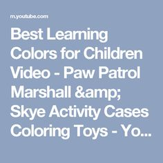 Best Learning Colors for Children Video  - Paw Patrol Marshall & Skye Activity Cases Coloring Toys - YouTube