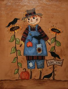 Scarecrow Painting Fall Hand Painted on by jennysfolkart on Etsy Scarecrow Painting, Autumn Painting, Autumn Art, Tole Painting, Painting For Kids, Fall Paintings, Painted Rocks, Hand Painted, Fall Clip Art