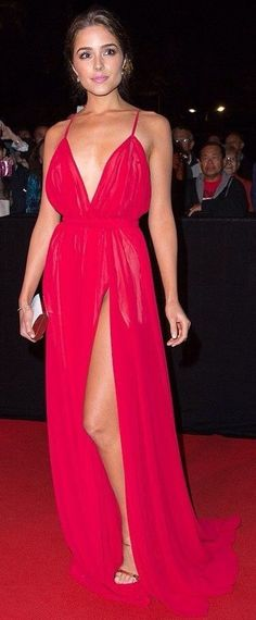 Neck long red selena gomez dress