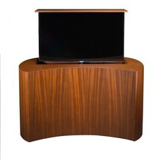 "If you're looking for the ""wow factor"" with total flexibility in design and customization, the ultra high end Coast Mahogany TV lift cabinet is nothing short of exceptional. Motorized Tv Lift, Modern Tv, Wow Factor, Back Plate, Cabinet Furniture, Contours, Wow Products, Console, Coast"
