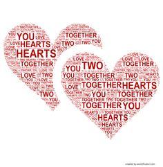 Two hearts in love #heart #love #wordificator #wordart