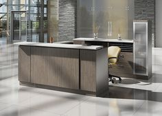 A modern reception desk from Global\'s Zira series boasts clean lines, modern accents, and open architecture. These modern reception desks are smart and classy. Global Office Furniture, Executive Office Furniture, Commercial Office Furniture, Brown Furniture, Living Furniture, New Furniture, Modern Reception Desk, Reception Furniture, Furniture Brochure