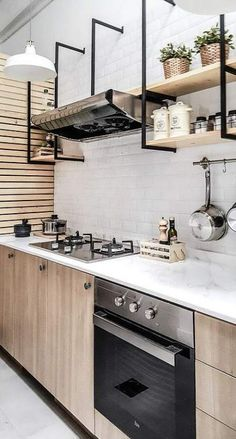 ideas wood kitchen shelves interior design for 2019 Barn Kitchen, Wood Kitchen Cabinets, Kitchen Sets, Kitchen Flooring, New Kitchen, Kitchen Shelves, Stain Cabinets, White Cabinets, Kitchen Shelf Interior