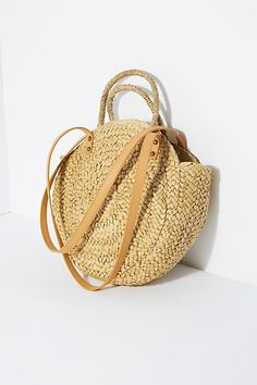 circle straw bag with straps and handles