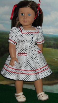 1930s - 1940s Polka Dot Dress  by SugarloafDollClothes