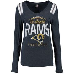 749dd2c0c Women s Los Angeles Rams 5th   Ocean by New Era Navy Game Time Long Sleeve T -Shirt