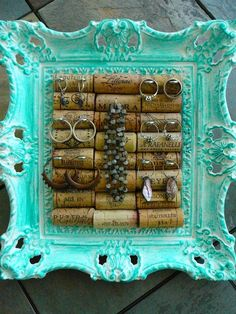 Jewelry Holder / Vintage Picture Frame/ Wine Cork Art/OOAK/Jewelry Display/ Syroco
