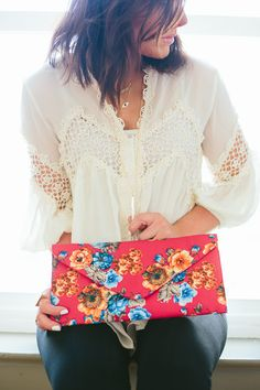 Fuchsia Floral Clutch | Urban Peach