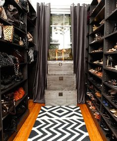 The black shelves really showcase the accessories. Love the idea of an accessories closet - need lotsa' save in my dream home for all of these closet design decorating house design room design interior design 2012 Closet Curtains, Closet Bedroom, Master Closet, Black Curtains, Grommet Curtains, Bedroom Decor, Walk In Wardrobe, Walk In Closet, Closet Space