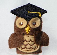 Graduation Owl Finger Puppet by ImogenesTeaGarden on Etsy, $2.50
