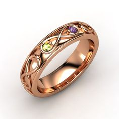Rose gold (Love) Ring with Peridot & Amethyst (for Alexis & Brock) with infinity symbol (infinite love)