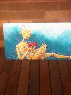What would a robot do with a heart Montassj Art Acrylic on canvas