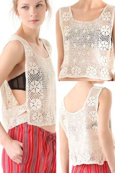 side tabs on basically a long strip with square opening for neck. Would be nice over a blouse Crochet Tank, Crochet Blouse, Love Crochet, Knit Crochet, Crochet Fashion, Summer Wear, Crochet Clothes, Dressmaking, Knits