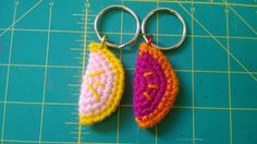 persimmon and grapefruit  keychain  SET OF TWO purse charm handmade crochet on Etsy, $7.50