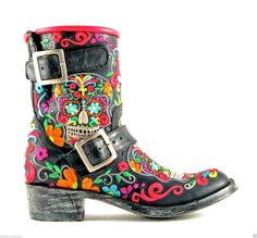 OLD GRINGO SUGAR SKULL KLAK BIKER MULTI Embroidered Ankle Cowboy Boots