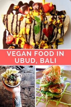Click through for a list of the 10 best restaurants for vegan food in Ubud Bali including everything from raw food vegan pizza smoothie bowls tempeh vegan desserts and more vegan eats! Vegan Foods, Vegan Desserts, Raw Food Recipes, Freezer Recipes, Freezer Cooking, Vegan Meals, Drink Recipes, Cooking Tips, Vegan Cafe