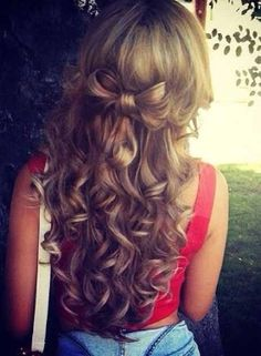 Curly bow hair style :) | Totally doing this I love the idea with the bow and the curly hair