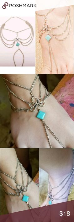 NEW IN ☮ Hot! Quality Chain Anklet Sexy & Quality! Silver Chain Link & Turquoise Celtic Knot design Boho Festival Hippie Anklet jewelry   Bundle & save! 20% off 3+ NorCalCloset  Jewelry