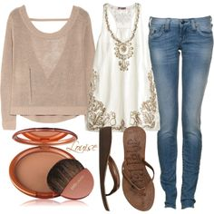 summer #55, created by clayhandler on Polyvore Pretty Outfits, Beautiful Outfits, Beautiful Clothes, Pretty Clothes, Summer Shirts, Weekend Style, How To Look Pretty, Jeans Style, Summer Looks