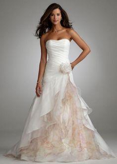 Davids Bridal Organza Split Front Gown With Floral Wedding › via: www.tradesy.com