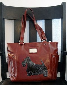 Scottish Terrier Scottie Dog Hand Painted Purse Handbag Wearable Art One Of A Kind