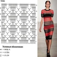 Fabulous Crochet a Little Black Crochet Dress Ideas. Georgeous Crochet a Little Black Crochet Dress Ideas. Crochet Motifs, Crochet Diagram, Crochet Stitches Patterns, Crochet Chart, Filet Crochet, Crochet Designs, Crochet Lace, Knitting Patterns, Black Crochet Dress