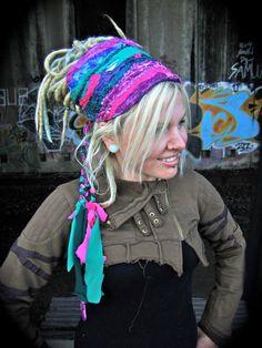 Headband Dread Wrap The OriginaL InterStellar Headband Dreadlock Hairstyles, Headband Hairstyles, Hippie Style, Hippie Boho, Boho Style, Bohemian, Retro Apron Patterns, Festival Outfits, Festival Clothing
