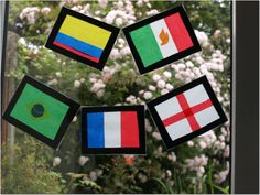 World flags stained glass window uses clear contact paper & tissue paper