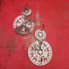 Large Sun Goddess Hammered Sterling Silver Earrings